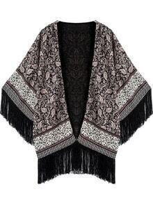 Tassel Print Loose Kimono