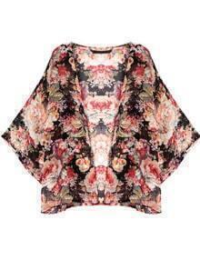 Floral Print Chiffon Loose Kimono