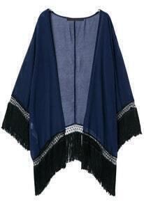Tassel Solid Blue Kimono