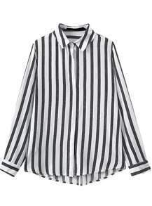 Black White Vertical Striped Casual Blouse