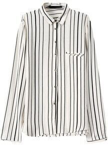 Vertical Striped Buttons White Blouse