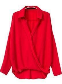 Asymmetrical Wrap Front Red Blouse