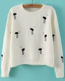 Ostrich Embroidered White Sweater