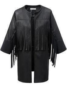 Tassel Hollow Black PU Coat