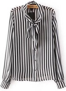 Vertical Stripe Pussybow Blouse