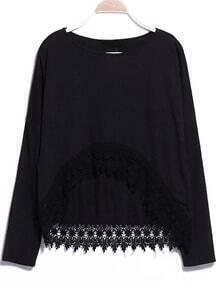 Lace Embellished Dipped Hem Black T-Shirt
