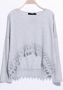Lace Embellished Dipped Hem Grey T-Shirt