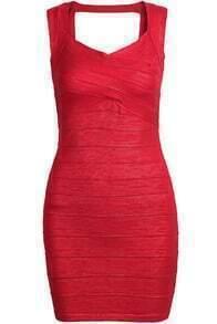 Sleeveless Bodycon Bandage Red Dress