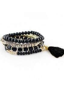 Black Bead Bohemian Bracelet