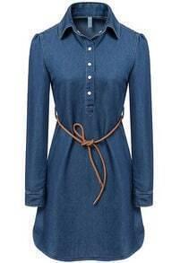 Belt Embellished Denim Dress