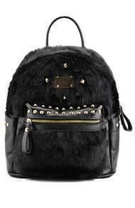 Rivet Faux Fur Backpack