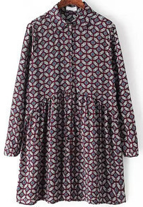 Vintage Geometric Print Purplish Red Dress