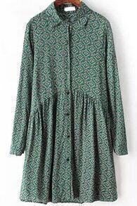 Vintage Geometric Print Green Dress