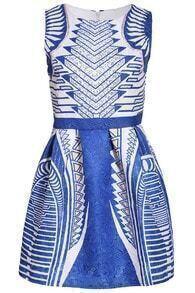 Geometric Print Jacquard Dress