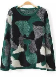 Camouflage Print Mohair Green Sweater