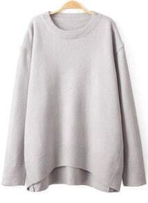 Solid Dipped Hem Loose Grey Sweater