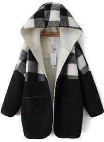 Vintage Black and White Patchwork Hooded Coat
