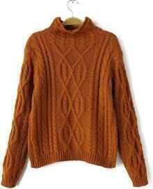 Khaki High Neck Vintage Cable Sweater
