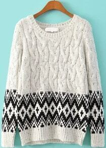 White Geometric Cable Sweater