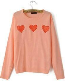 Pink Sweater with Red Lace Heart