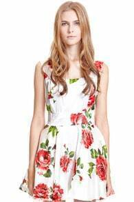 ROMWE Bandeau Rose Print Tank Skater Dress
