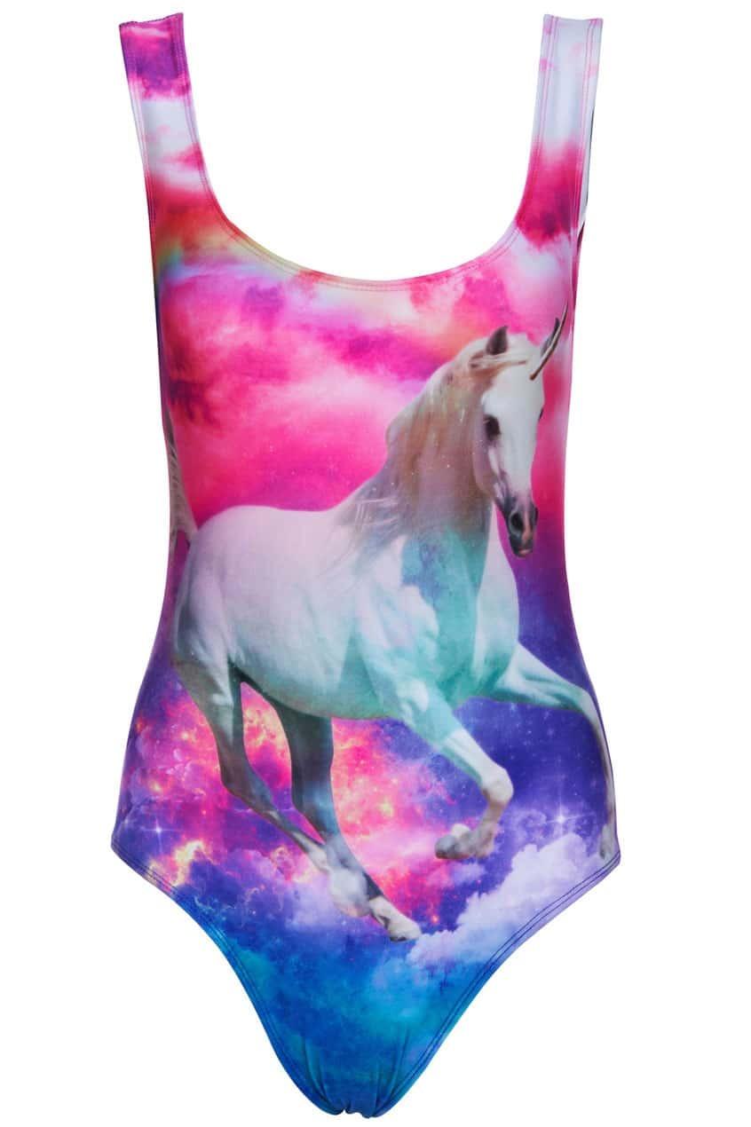 Unicorn In Rainbow Sky Print SwimsuitFor Women-romwe