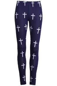 Cross Printed Blue Leggings