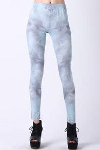 Light Feather Print Leggings