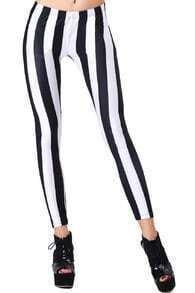 ROMWE Vertical Stripe Black-White Leggings