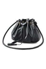 ROMWE Self-tie Hollow Rivet Tassel Black Shoulder Bag