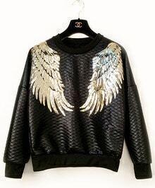 Sequined Wing Diamond Patterned Sweatshirt