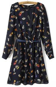 Feather Print Belted Chiffon Long Dress
