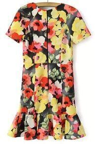 Short Sleeve Floral Print Pleated Dress
