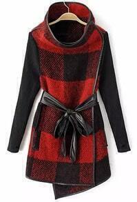 Black and Red Plaid Belted Woolen Coat