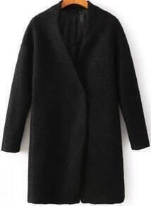 Black Collarless Woolen Coat
