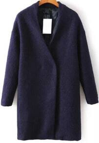 Navy Collarless Woolen Coat