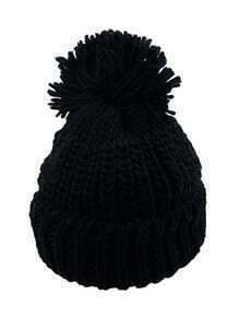Pompom Embellished Knit Beanie-Black