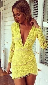 Deep V Neck Bodycon Lace Yellow Dress