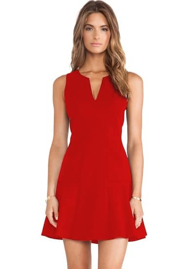 V Neck Sleeveless Ruffle Red Dress - $14.33
