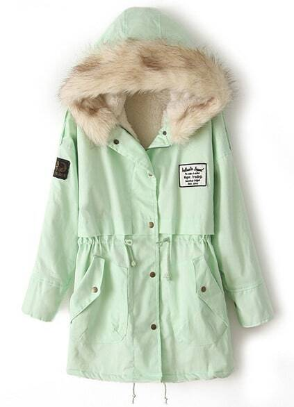 Zipper Embellished Fleece Inside Military Mint Green Coat