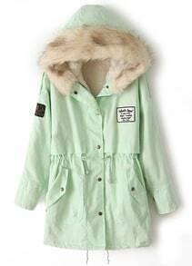 abrigo forro creamllera cinturón capucha-verde