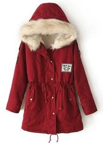 Zipper Embellished Fleece Inside Military Red Coat