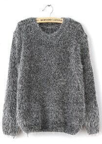 Shaggy Mohair Loose Grey Sweater