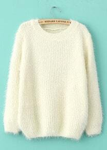 Shaggy Mohair Loose White Sweater