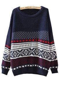 Diamond Patterned Loose Navy Sweater