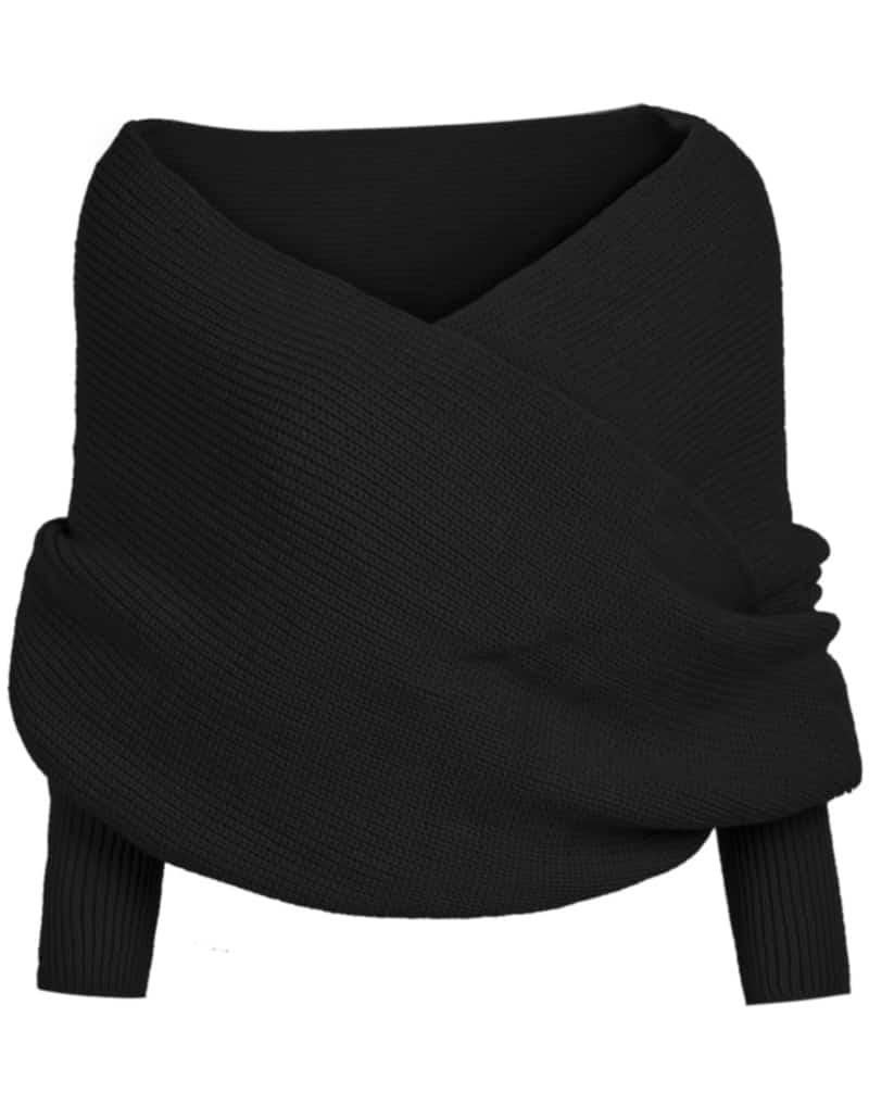 Off-shoulder Crop Knit Black Sweater