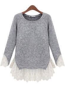 Contrast Lace Knit Sweater
