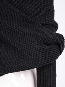 Off-shoulder Crop Knit Black SweaterFor Women-romwe