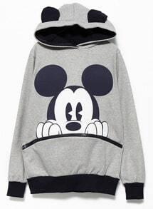Mickey Hooded Loose Grey Sweatshirt