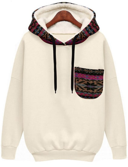 Hooded Pocket White Sweatshirt
